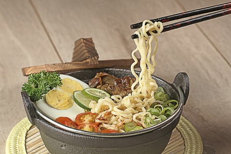 mie noodles:  Indonesian cuisine, soto mie, Noodle soup Stock Photo
