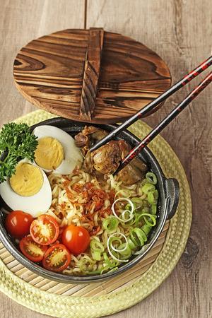 noodle soup:  Indonesian cuisine, soto mie, Noodle soup Stock Photo
