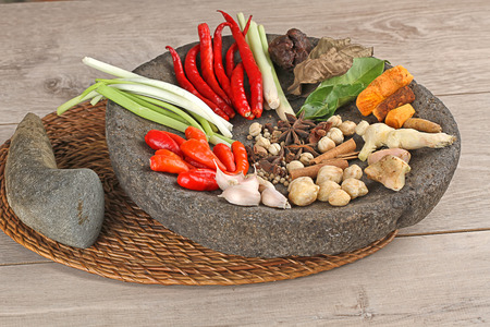 Indonesian spices on mortar Stock Photo