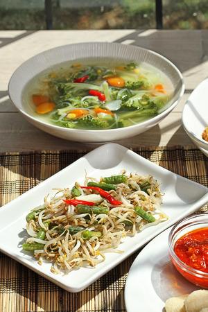 bean family:  Some Indonesian foods for family lunch Stock Photo