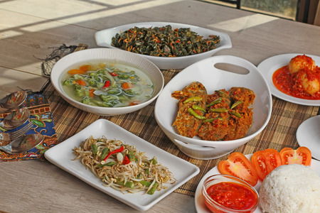 Some Indonesian foods for family lunch Stock Photo