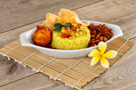 nasi kuning, Indonesian food Stock Photo