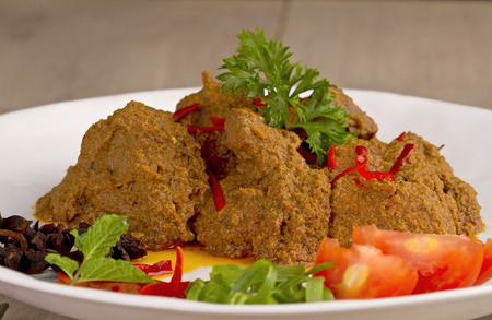 known: Famous rendang padang, Indonesian cuisine from West Sumatera