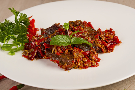 dendeng batokok, beef jerky, Indonesian food Stock Photo