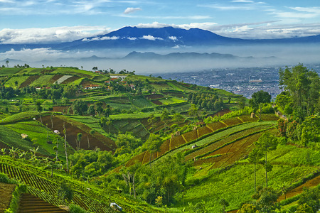 Beautiful Indonesian landscapes, lake view, mountains, hills, waterfalls, village houses