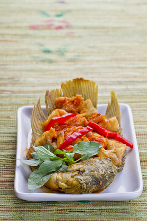 Ikan gurame goreng asam manis, fried gurame fish with sour and sweet sauce
