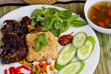 iga: Nasi goreng and sup iga bakar, fried rice and grilled ribs soup, Indonesian cuisine