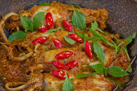 sambal cumi, hot and spicy squid Stock Photo