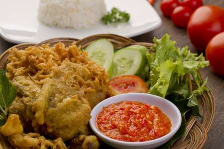 Indonesian fried chicken, ayam penyet