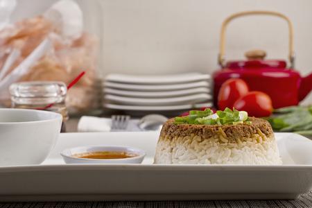 plating: nasi tim, steam rice, Indonesian recipe Stock Photo