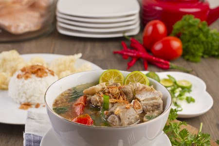plating: sop iga, Indonesian ribs soup Stock Photo