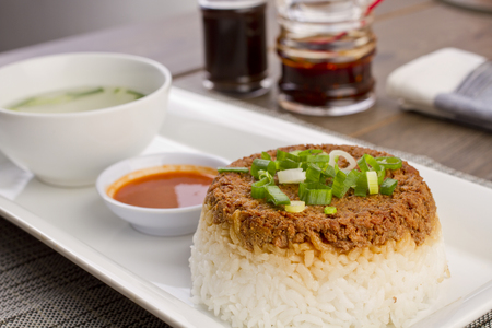 nasi tim, steam rice, Indonesian recipe Stock Photo