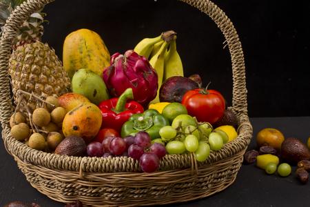 fruits on basket Stock Photo