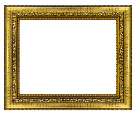mirror frame: gold picture frame. Isolated on white background