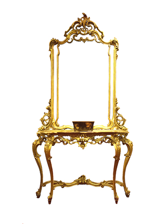 dressing tables,beautiful classic golden commode. isolated on white