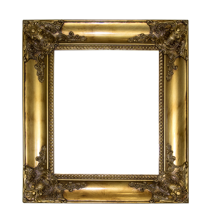 old photo: Gold picture frame isolated on white background