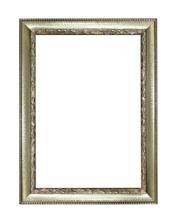 mirror frame: Silver picture frame isolated on white background.