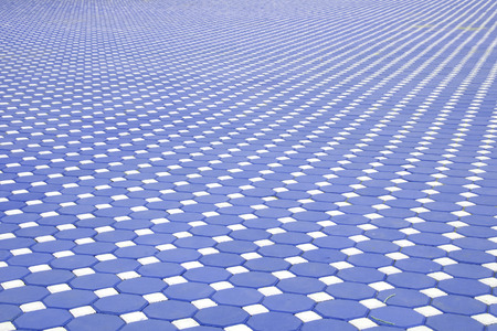 Blue paving slabs,patterned paving tiles, cement brick floor background Stock Photo