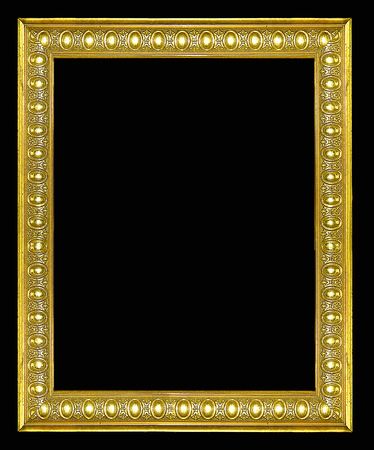Gold vintage picture and photo frame isolated on black background
