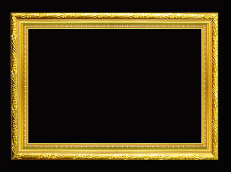 Gold wood sculpture picture frame  isolated.