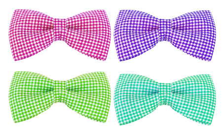 colorful of bow tie with white stripes on an isolated white background