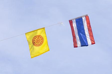 Buddhist & Thai flag in temple