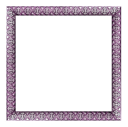 Purple vintage picture and photo frame isolated on white background
