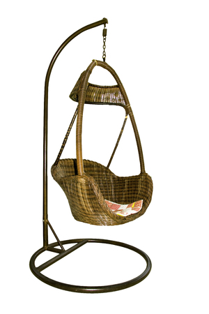 Vintage Hanging rattan chair isolated white background