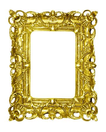 Gold Vintage Bilderrahmen isoliert auf weißem Hintergrund Standard-Bild - 92610395