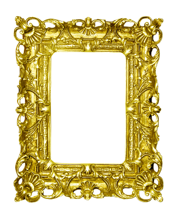 Gold vintage picture frame isolated on white background.