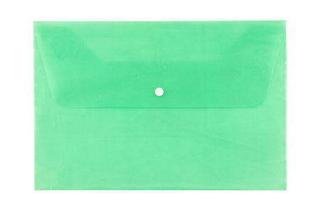 Plastic file bag on white background. Stock Photo