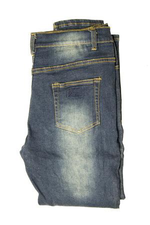 Bleu jeans . plié isolé sur fond blanc Banque d'images - 98547410