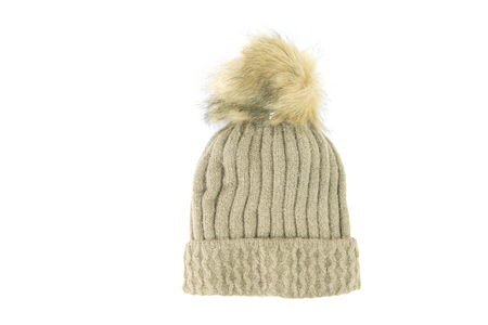 Brown wool knitted hat isolated on white background.