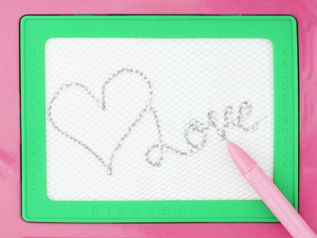 Magnetic drawing board, toy block with word. LOVE