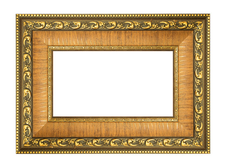 gold picture frame isolated.