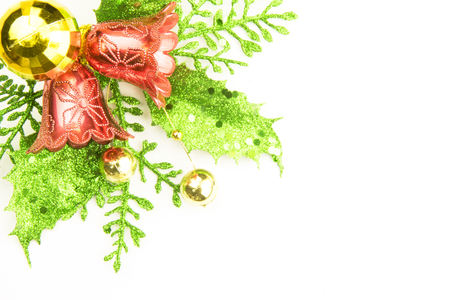 Red Christmas and New Year Decoration isolated on white background. Border art design with holiday baubles. Space for your text Stock Photo