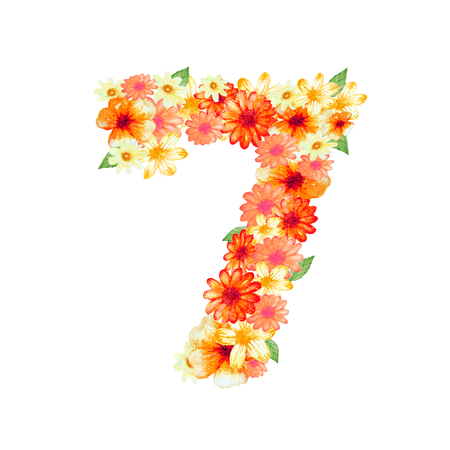 number design with colorful flowers on white background