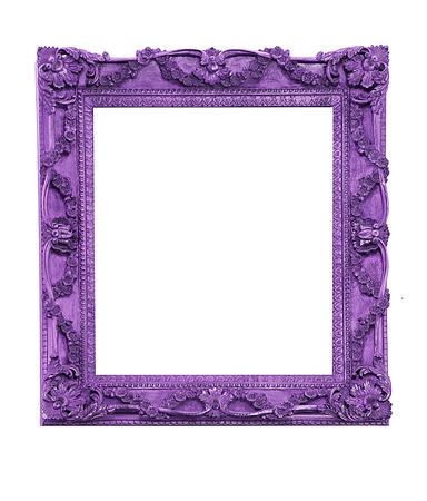 Purple vintage picture frame isolated Imagens