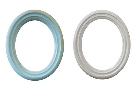 Vintage ceramic oval frame isolated on white background