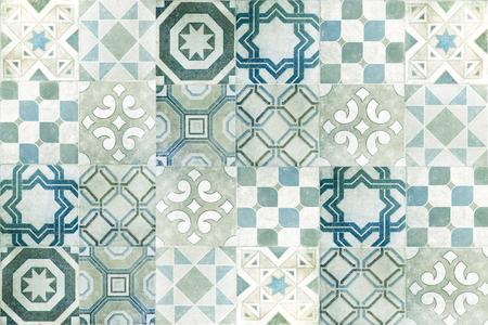 Vintage ceramic tiles wall decoration.Turkish ceramic tiles wall background