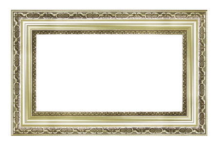 Silver vintage picture and photo frame isolated on white background Фото со стока