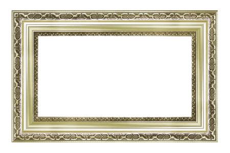 Srebrny obraz vintage i ramka na zdjęcia na białym tle Zdjęcie Seryjne