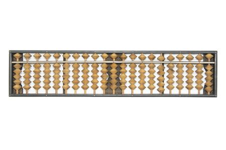 Old wooden abacus isolated on white background.