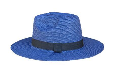 Joli chapeau de paille vintage isolé sur fond blanc. A côté de la vue.