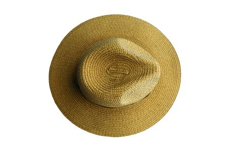 Top view vintage pretty straw hat isolated on white background Stock Photo