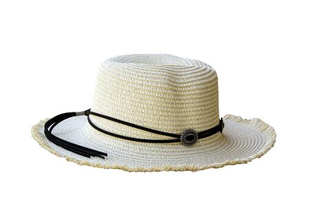 Vintage pretty straw hat isolated on white background. Beside view. Archivio Fotografico - 128510678