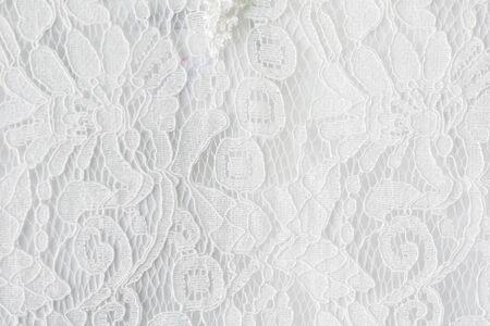 Lace fabric background, white lace fabric Archivio Fotografico - 128511053
