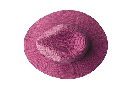 Top view pink pretty straw hat isolated on white background