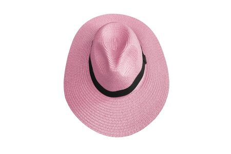 Top view pink pretty straw hat isolated on white background Archivio Fotografico - 129097105