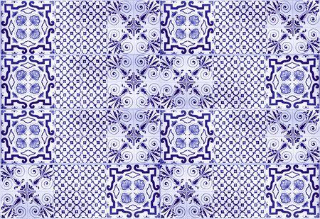 Blue vintage ceramic tiles wall decoration. Turkish ceramic tiles wall background Archivio Fotografico - 129097131